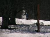 Нижняя часть подъема. Обычно здесь имеем проталину, но ратрак предусмотрительно нагнал сюда снега