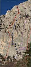 Нитки существующих маршрутов на эту часть стены Мердвень-Каясы - для привязки на местности