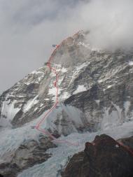 Нитка маршрута с указанием высотных лагерей / Route topo with our high camps marked