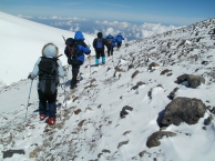 Начало спуска с Восточной вершины Эльбруса