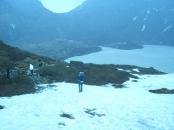 Котловина с замёрщгим озером между перевалами Шиптона