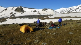 Бивак после перевала Саберце