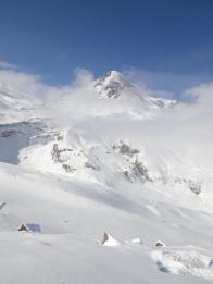 Вид на Казбек с перевала Саберце