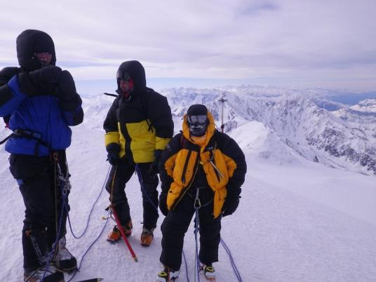 На вершине. Слева направо: Кирилл Мешков, Семён Шилов, Юрий Круглов