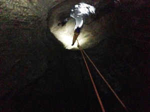 Первый колодец. 90 метров (70 от дна воронки)