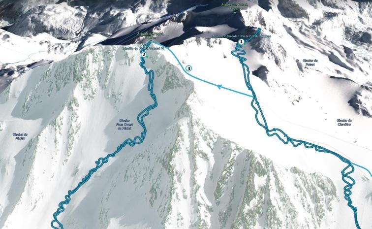 Маршруты ски-альпинизма на Peclet Gébroulaz
